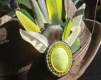 Hand Bead Embroidered Serpentine Cabochon Feather Hat Clip - Cruelty-Free, Naturally Molted No Dyes. Feather Hat or Up-do Clip.