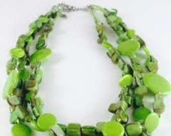 Murano Green Glass Triple Strand Elegant Necklace