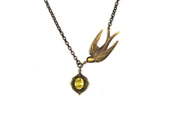 Swallow  pendant Bird jewelry vintage martlet  Victorian necklace yellow blue orange pink crystal stones