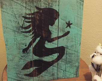 Mermaid painting on reclaimed wood