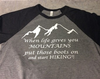 Ladies black/grey hiking shirt three quarter sleeves! Made to order! Small,med,large and extra large availiable