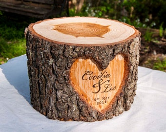 Personalized Wedding Cake Stand, Custom Wedding Cake Stand, Rustic Cake Stand, Wedding Centerpiece, Wood Cake Stand, Log cake stand