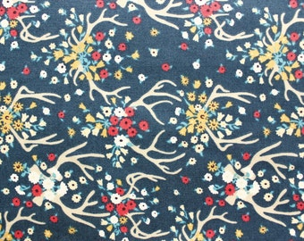 Floral Fabric, Cotton Fabric, Quilting Fabric, Dear Stella, Little Flowers Antler, Navy Blue, Sewing Dressmaking Craft Supplies, Half Metre