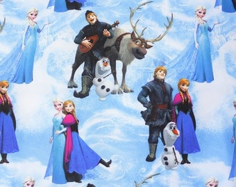 Frozen Fabric, Disney Fabric, Disney Frozen, Princess Anna Elsa Olaf Kristoff Sven, Ice Blue, Cotton Sateen, Satin, Wide, Half Metre