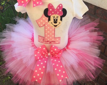 Minnie Mouse Birthday Tutu Outfit Dress Set Handmade 1st 2nd 3rd in Pinks and White