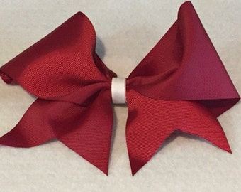 Maroon and white hair bow