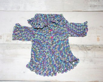 Crocheted circle sweater for toddler, childs sweater, circle sweater, infant circle sweater, fall, spring, sweater, circle, varigated