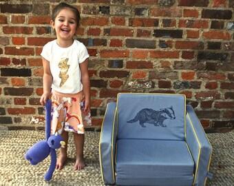 Badger - kid's mini flip sofa in grey and yellow