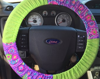 Paisley Lime Green Steering Wheel Cover