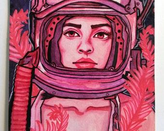 5X7 Original Gouache Painting. Stella