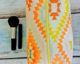 Box Zipper pouch Tribal print zipper pouch Make up pouch Pencil pouch Cosmetic bag Summer pouch Travel kit Toiletry bag Geometric print bag