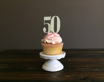 50th cupcake toppers Etsy