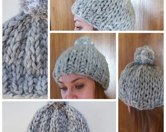 Chunky winter hat, handmade, gift for her, knitted hat