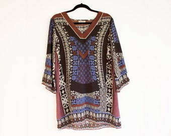 Vintage Boho Silk Tunic Dress