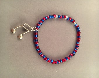 Red and Blue Seed Beaded Bracelet