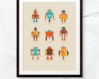 Retro Robot Friends Poster / Art Poster