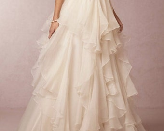 Amelie- Wedding- Long Layered Ruffled Skirt