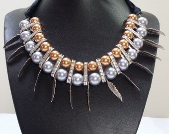 Bronze and Purple Pearl Necklace with leaves