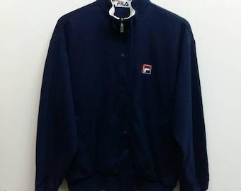 FILA Sweater Medium 90's Sportwear Clothing Vintage Fila Italia Trainer Zipper Sweatshirt s Cotton Sport Size M