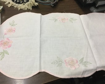 Vintage Small Linen Table Runner, With Embroidery, OffWhite, Pink, Green