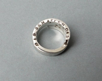 "Silver ring ""We do this"", spiral ring made of 925 Silver, statement ring, spiral ring with engraved saying, double ring"