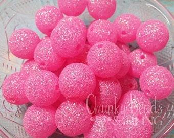 10pc. 20mm Pink Glitter Beads