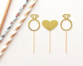 Engagement Ring & Love Heart Cupcake Toppers, Gold Glitter - Bride to Be, Bridal Shower, Engagement, Bachelorette Party, Hen's Party