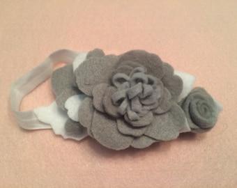 Grey felt flower headband