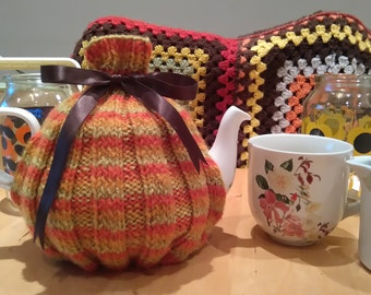 Hand Knitted Striped Tea Cosy