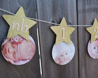 Gold OR Silver Twinkle Twinkle Little Star First Birthday Banner Star One Year Banner Twinkle Twinkle Little Star First Year Picture Banner