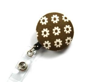 FLOWER Fabric Button, Brown Fabric Badge Reel, Spring Badge Reel, Retractable Badge Reel