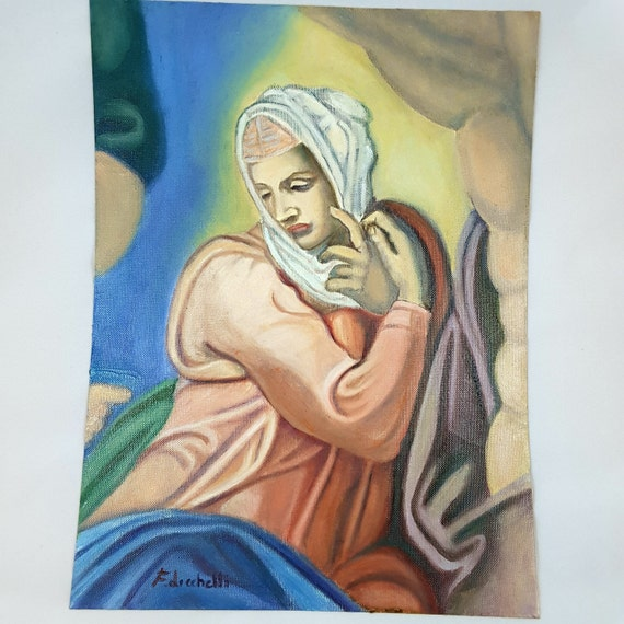 Oil painting, reproduction of Michelangelo, Madonna of the Judgement, oil on canvas paper, special gift idea, birthday, italian wall art.