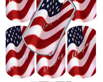 "7  American Flag Standard 1.1"" x 2"" Dog Tags Images Photo Quality 4x6 Sheet Digtal Download Printable USA Patriotic"