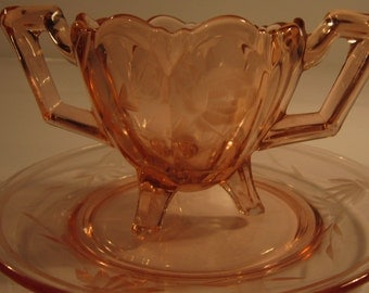 Indiana Glass EAPG Pink Footed Sugar Bowl