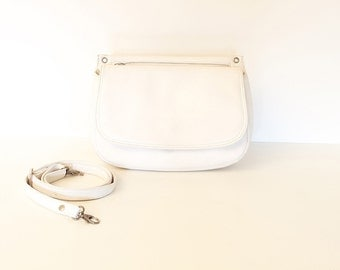 80s • Vintage • Leather • Crossbody Bag • Shoulder Bag • Leather Bag • Leather Shoulder Bag • White Bag • White Leather Bag • White Purse