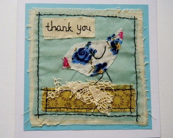 Hand stitched and embroidered floral fabric Thank You card showing little bird, recycled materials