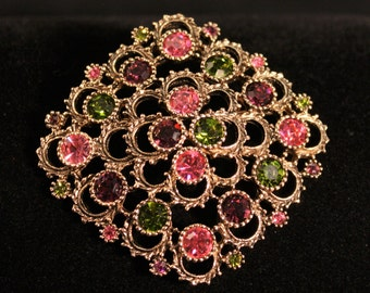 Very Unique & Vintage Coventry Large Rhinestone Brooch - Ships Free!  042516EA01