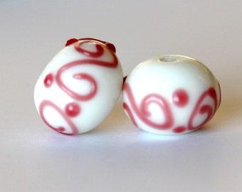 lampwork beads pink & white swirl | murano beads | jewelry supplies | glass beads | handpainted beads | Qty 2 | loose beads | 15x10mm