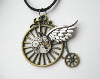 Steampunk jewelry Old style NecklacesPendantSteampunkBicycle necklace giftSteampunk PendantRetro Bicycle