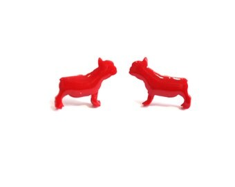 Red Pug Earrings, Polymer Clay Resin, Animal Earrings, Dog Earrings, Dog Lover Gift, Gift for Animal Lover, Bridesmaid Gift, Pug Lover