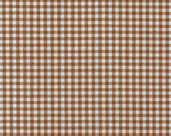 """Brown Gingham, 1/8"""" Chocolate Brown and White checked fabric, Robert Kaufman Fabric, 100% cotton fabric"""