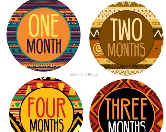 African Tribal Monthly Baby Onesie Stickers