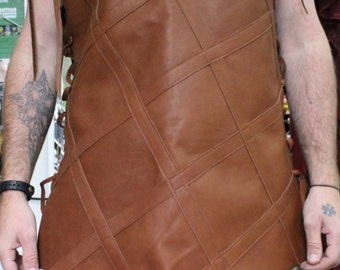 medieval tabard tunic brown leather viking