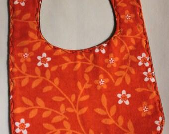 Bib - Flannel Orange and White Flowers