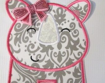 Ready To Ship SEWFAST - Happy Rhino with Pink Sequin Bow - Iron On Applique