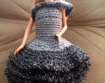 Crocheted doll dress shades of gray