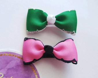 Hot pink and green girls barrette. Baby hair tuxedo bows. Toddler hair clips. Alligator hair clips