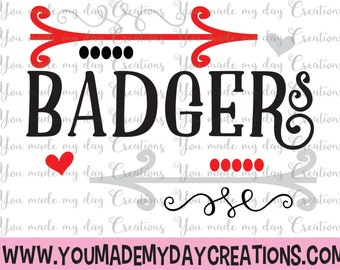 Buy 4 get 1 FREE***  Badgers Arrow SVG, eps, PNG, & dxf Cutting Files Sports Baseball Football Hearts