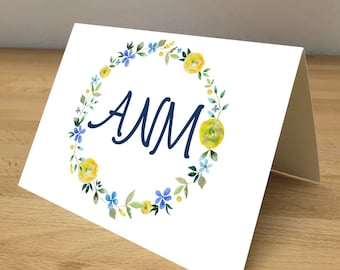 Personalized Note Cards - Blue and Yellow Flower Wreath