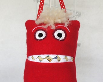 Red Fleece 'Monster' Tooth Fairy Pillow. Handmade.